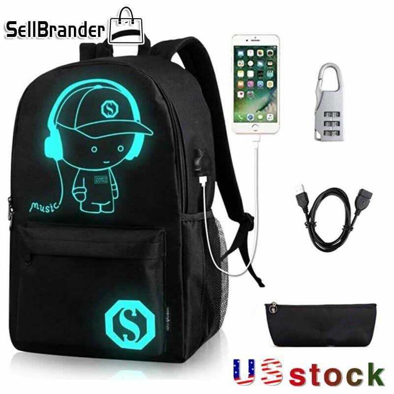 2PCS/Set Anime Luminous SchoolBag Anti-Theft Lock USB Charging Backpac... - s l1600