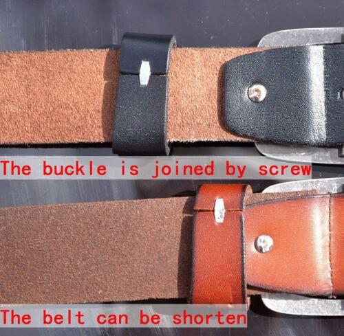 AU 3.8cm Wide Copper Rectangle Buckle Genuine Leather Unisex Adjustable Belt JN2
