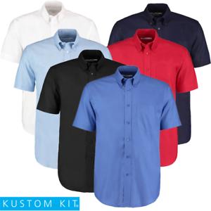 Kustom Kit MEN/'S OXFORT SHIRT SHORT SLEEVE BUTTON DOWN SMART WORK OFFICE POCKET