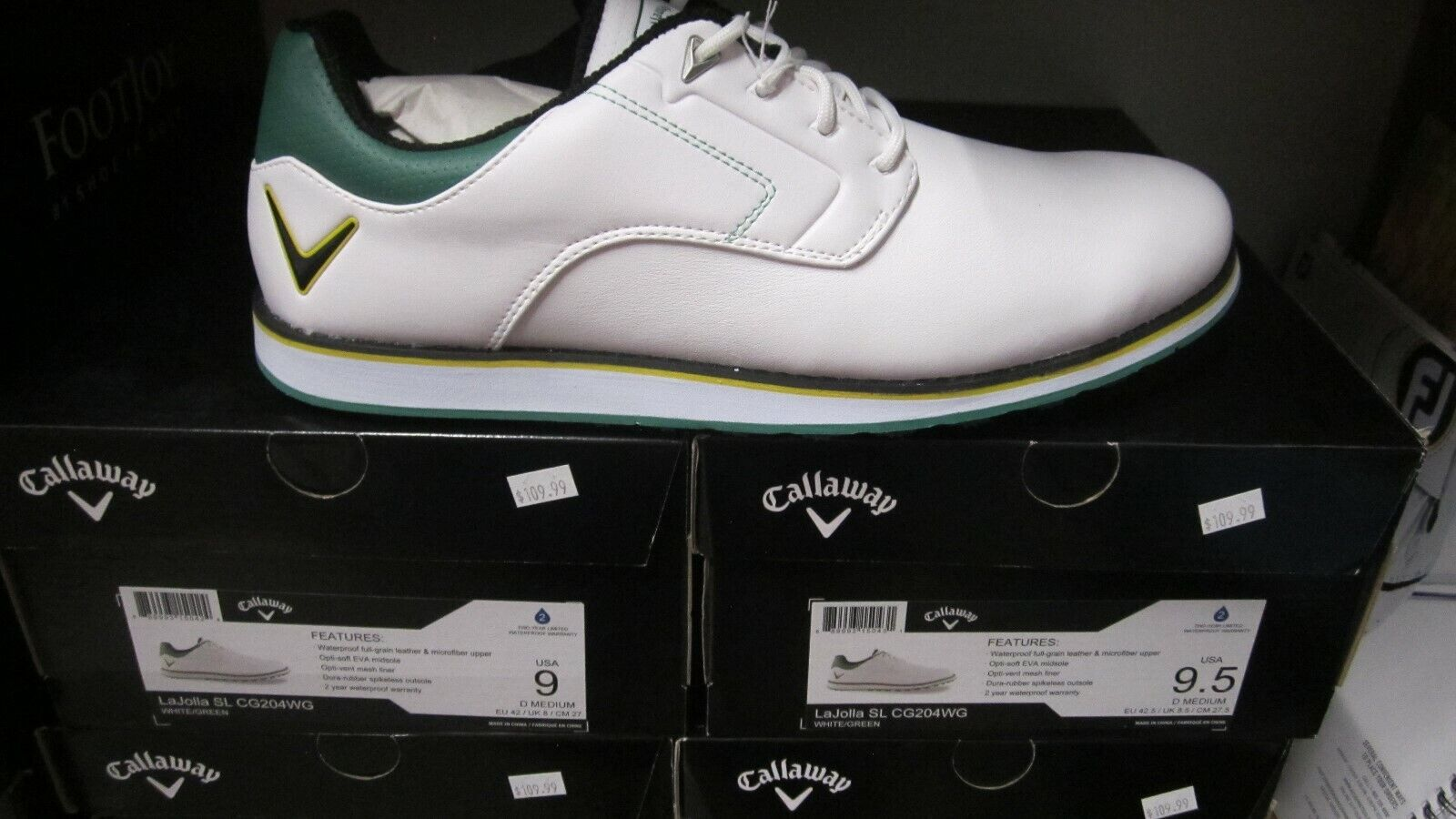 Callaway LaJolla SL Pour des hommes or chaussures blanc vert Sz 9M