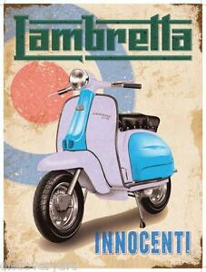 Vintage Lambretta Poster Canvas Multi-Size Wall Art Print Motor ...