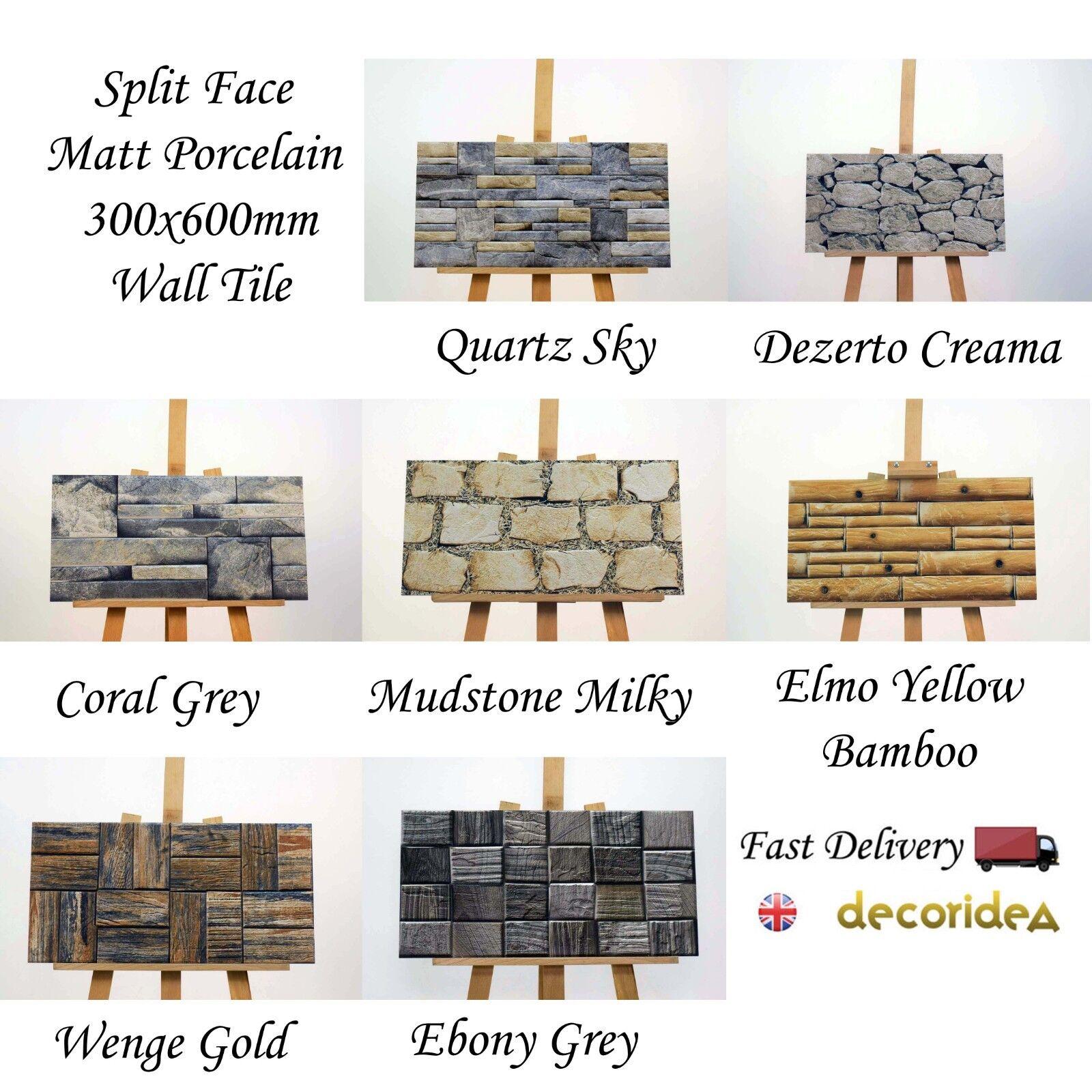 7 Split Face Matt Porcelain 300x600mm Cladding Wall Tile - 0.9sqm/box - 10.5mm