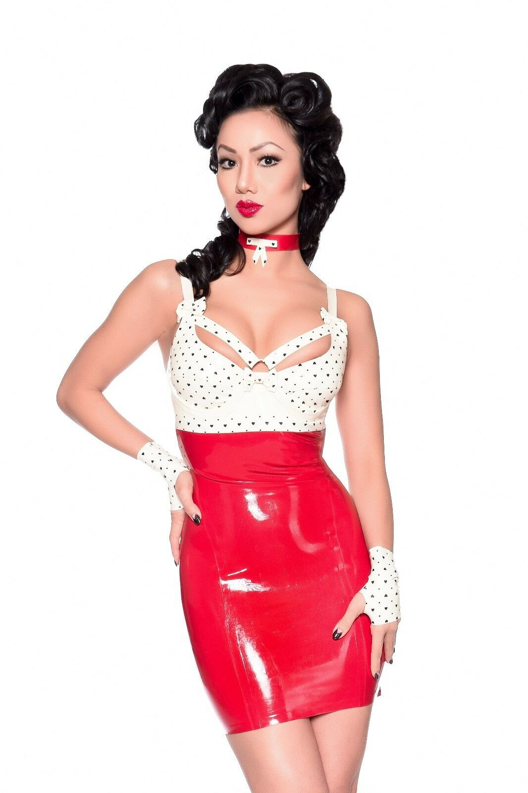 R1724 Rubber Latex DRESS Couture Shown Fetishwear 10 UK SECONDS RRP