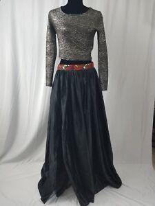 c802f739f0 African Ankara Band Black Front Slit Satin Long Maxi Ball Skirt ...