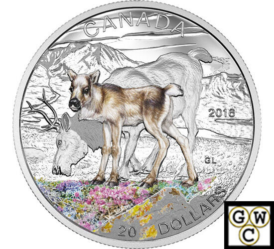 2016 Caribou-Baby Animals Color Prf $20 Silver Coin 1oz .9999 Fine (NT) (17744)