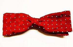 * Vintage Rouge Foncé Avec Petites Blanc Polka Dot Bow Tie Clip Neat Smart & Polyvalent-afficher Le Titre D'origine