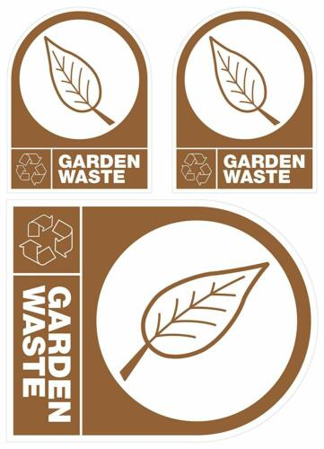"Self Adhésif Bin Il Weatherproof Recyclage /""Jardin Déchets/"" Autocollant in//outdoor"