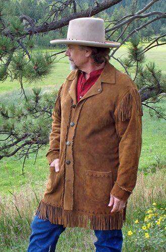 Herren Muttersprache amerikanisch Wildleder Western Kuhjunge Franse Lange Mantel