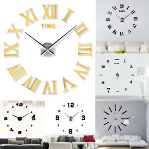 Image Is Loading Modern Diy Large Wall Clock Kit Mirror