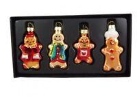 Set of 4 Gisela Graham Gingerbread Men Christmas Tree Decorations - Glass Decs