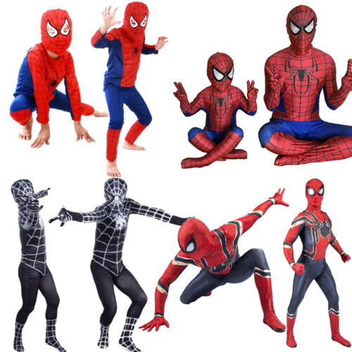 Boy Spider-Man Superhero Kid Adult Fancy Dress Costume Halloween Outfit Jumpsuit