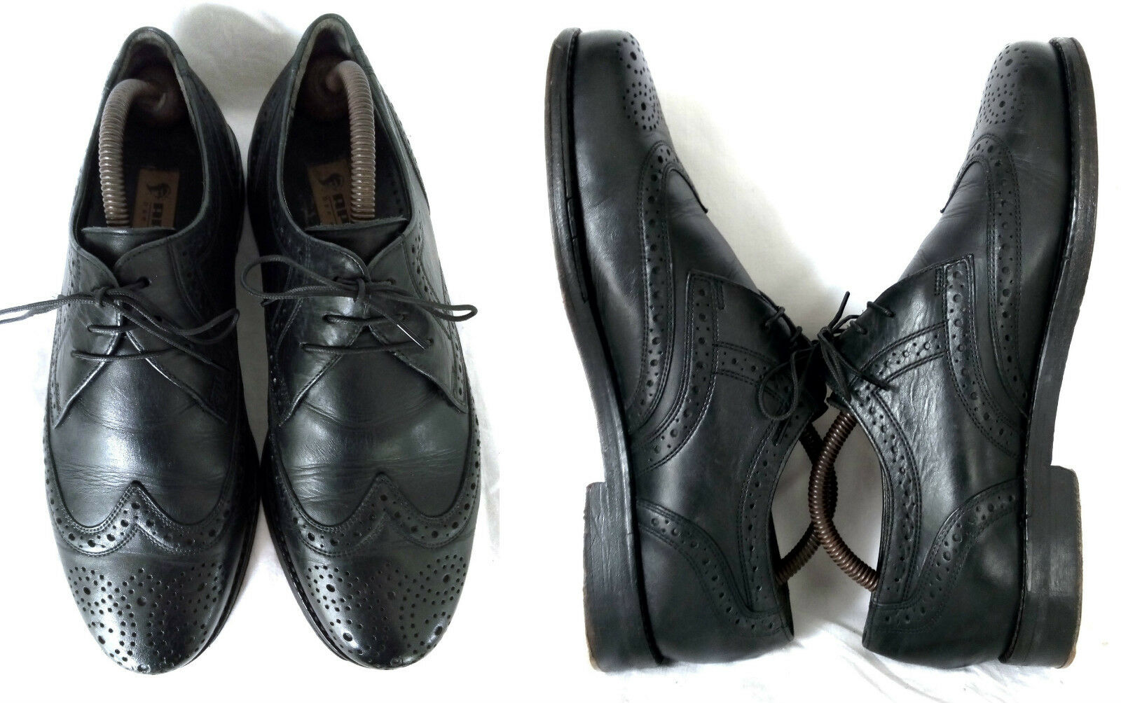 Apollo vintage full brogue derby Business caballero caballero caballero zapatos negro de cuero 6/39,5 9a593d