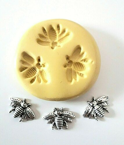 Small Bees Silicone Mould 14 mm Cake Decorate Sugarpaste Polymer Clay Fimo PMC