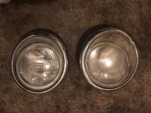 Vintage Vw Parts >> Details About Vintage Vw Volkswagen Hella Headlights Original Parts Restored1960