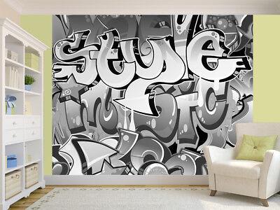 Graffiti wall urban art black and white photo Wallpaper wall mural 15654648