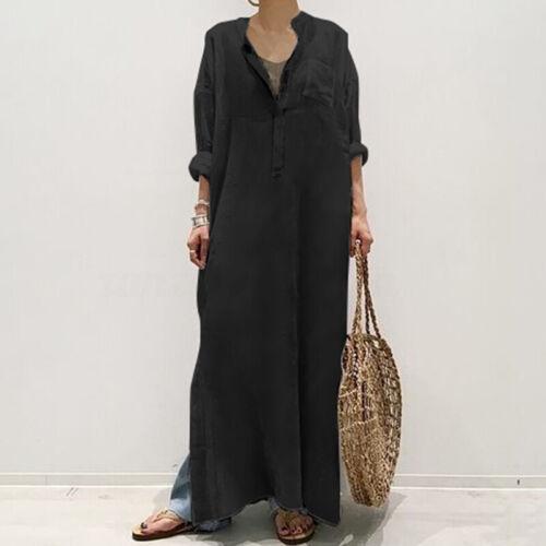 Mode Femme Coton Loisir Manche Longue Boutons Fendu Droit Jupe Robe Maxi Plus