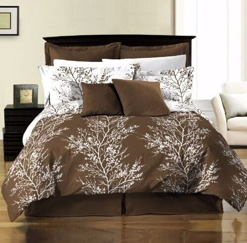 8pc Reversible Green Leaf or Brown Tree Branches Duvet Cover and Sheet Set