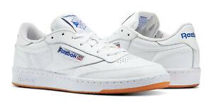 Reebok-Classic-Club-C-85-blanc-Royal-Gomme-Homme-Baskets-Chaussures-de-tennis-AR0459