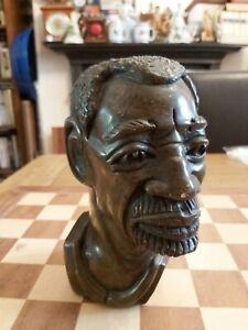 Carved Stone African Tribal Art Male Bust Sculpture  Heavy 4.4kg 20cm