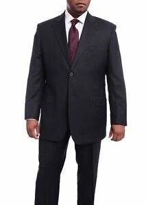 Mens-44L-Mens-Italy-Classic-Fit-Navy-Blue-Two-Button-Pleated-100-Wool-Suit
