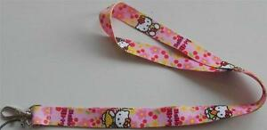 MOBILE-PHONE-IDENTITY-CARD-LANYARD-NECK-STRAP-HELLO-KITTY-PINK-CAKE-AND-FLOWERS