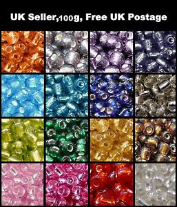 100g-Silver-Lined-Glass-Seed-Beads-11-0-2mm-8-0-3mm-6-0-4mm-Various-Colours