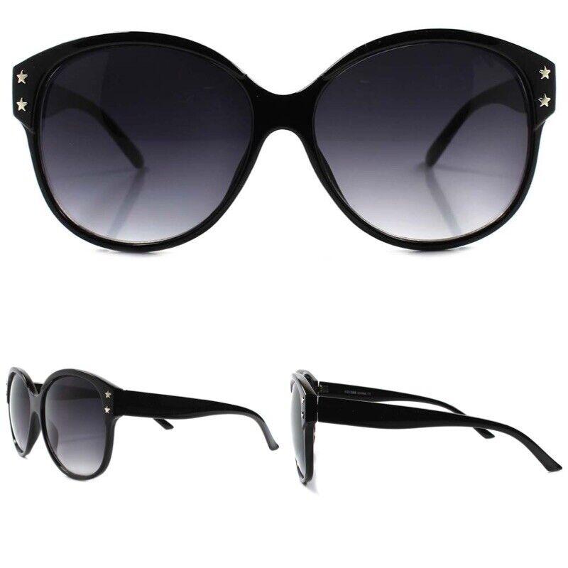 Classic 80s Fashion Round Retro Exaggerated Oversized XXL Black Women Sunglasses