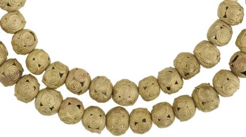 Schöner Strang Messingperlen Gelbg bronze Afrika Ghana Brass Trade Beads Ashanti