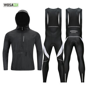 Mens-Cycling-Sets-Windproof-Coat-Jacket-Bib-Tights-Pants-Padded-Outdoor-Sports