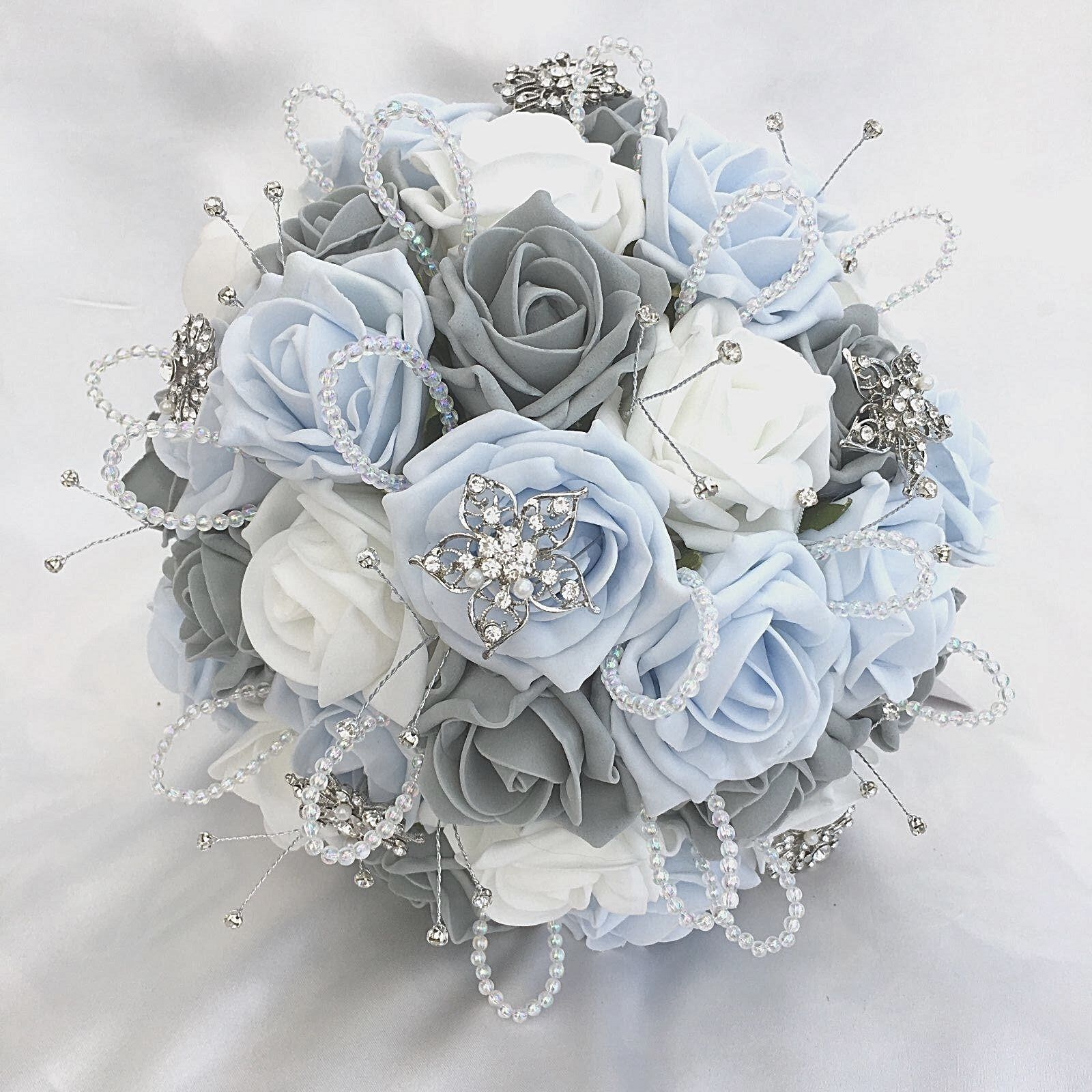 BRIDES POSY BOUQUET, BABY Blau, Weiß & & & grau RosaS,  ARTIFICIAL WEDDING FLOWERS 1109f6