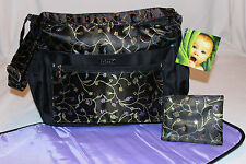 NEW – 3 Piece Baby Diaper Bag - Black Floral Brocade - Bag & Pad & Clutch