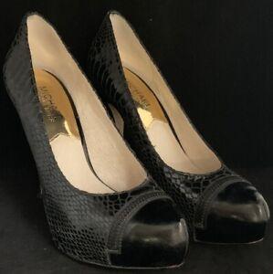 Michael-Kors-Snake-Skin-Heels-Size-6-5-M-Closed-Toe-4-1-2-034-Pumps-Shoes-Black