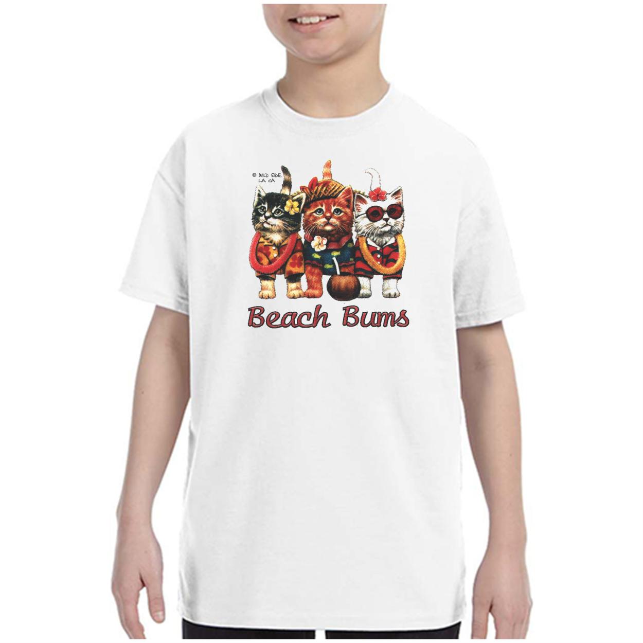 Youth Kids T-shirt Cats Beach Bums Kittens Kitty  k-709