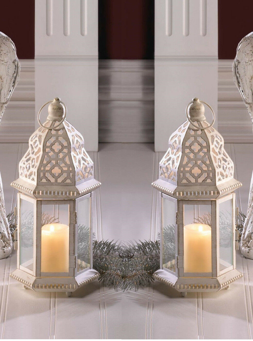 2 White Mgoldccan 12  shabby whitewashed Candle holder lantern lamp light outdoor