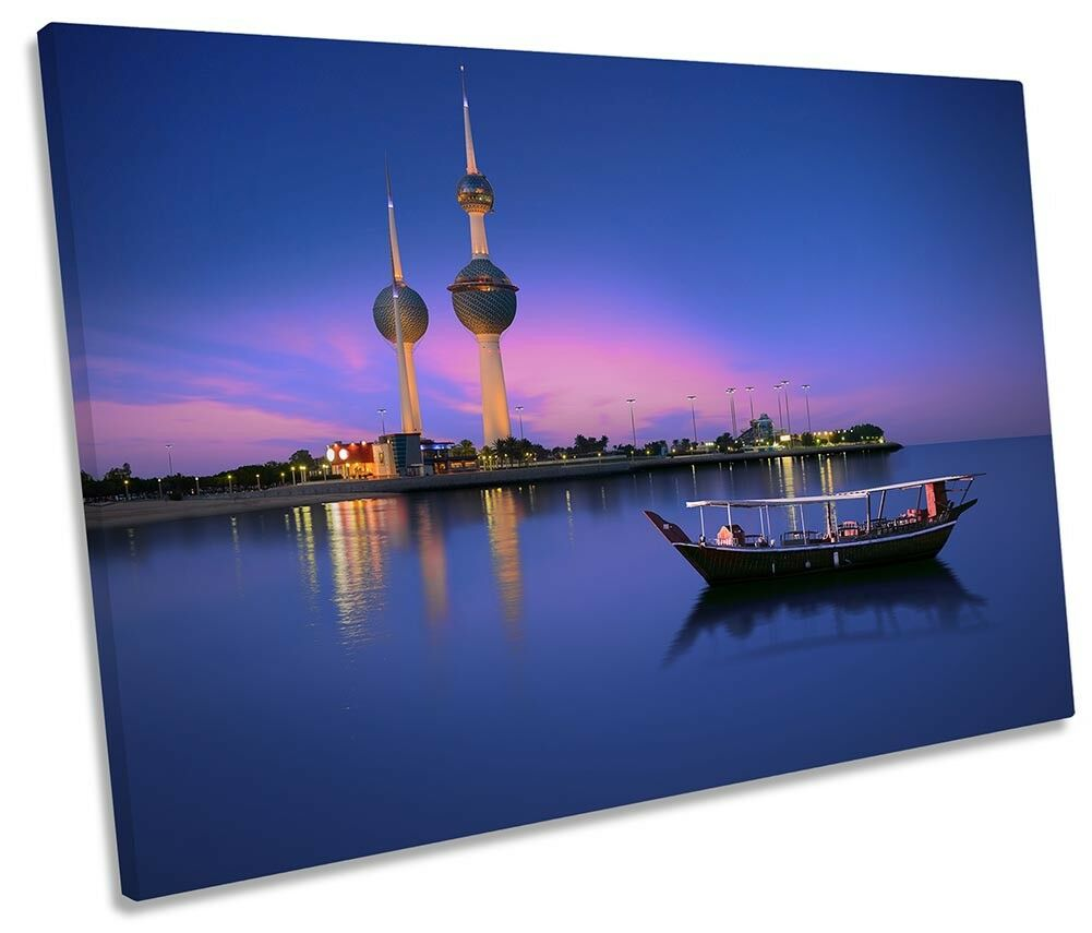 Kuwait Towers Cityscape Framed SINGLE CANVAS PRINT Wall Art