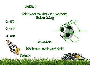 Das Bild Wird Geladen 8 Einladungskarten Fussball Spielen Ball Geburtstag  Kindergeburtstag Einladungen