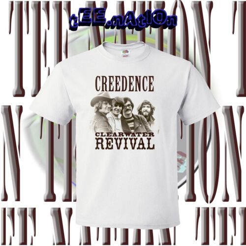 new CCR CREEDENCE CLEARWATER REVIVAL rock band mens WHITE t-shirt S to 4XLT