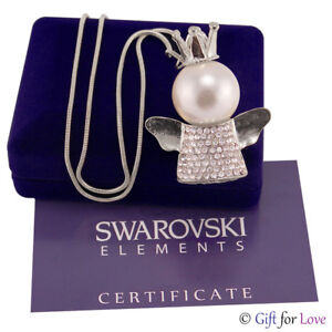 Collana donna argento Swarovski Elements originale G4Love angelo cristalli mamma