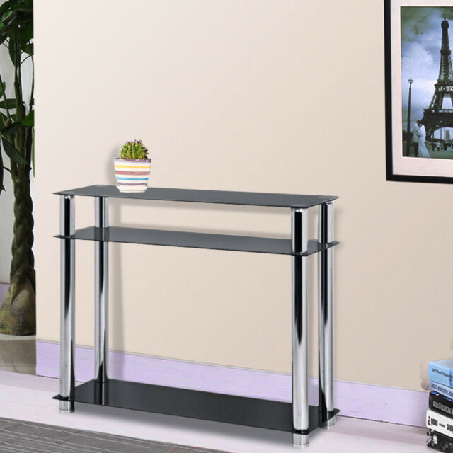 Black Glass Console Table Hallway Entry Display Stainless Steel Leg Furniture
