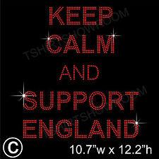 """""""Keep Calm y apoyo Inglaterra"""" Diamantes de imitación de transferencia de la revisión de hierro en Motif + Regalo"""
