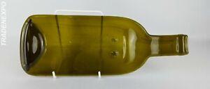 Vintage-Bottle-Shaped-Serving-Dish-Flat-Green-Glass-Retro