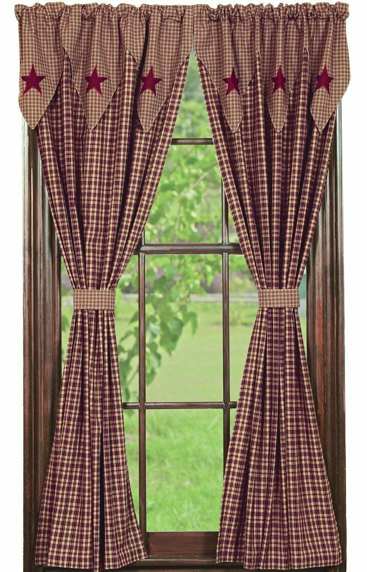 Vintage Star Burgundy Panel Curtains 84 L