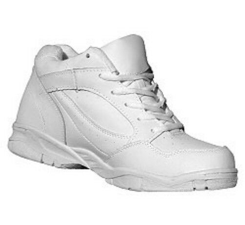 Leather Mid Hi Anti-Bacterial Anti-Fungal Arch Support in White WIDE Sz 5 to 17