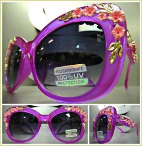 Design Sunglasses Cat Floral Retro Frame Oversize Vintage Details About Thick Purple Eye Style fg76yb