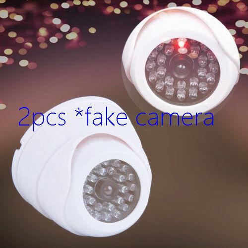 2Pcs*Dummy Outdoor Dome Security CCTV Surveillance Camera with 30pc False IR LED
