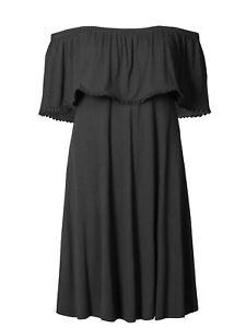 Ex-M-amp-S-Ladies-BLACK-bardot-swing-dress-Size-6-20