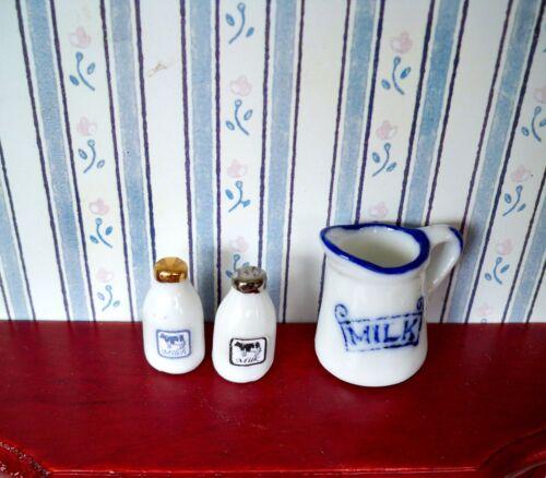 Porzellan  KRUG mit zwei Milchflaschen Puppenhaus Miniatur 1:12