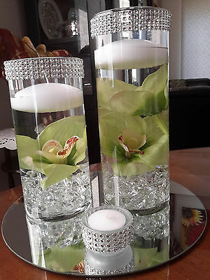 Cylinder Floral Floating Candle Centerpiece set with mirror and tealights