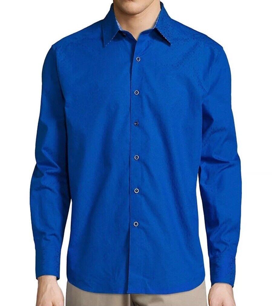 NWT Robert Graham Jacquard Bayside Long Sleeve Classic Fit Shirt Large