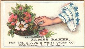 Victorian-Trade-Card-Wilcox-amp-White-Organ-James-Baker-Philadelphia-PA-Flowers